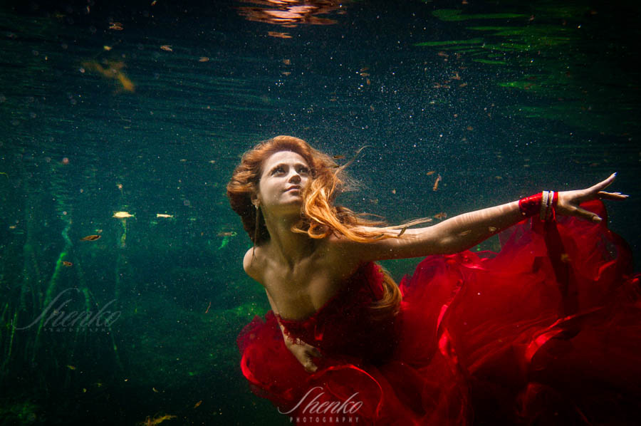 A Dream. Underwater photo session for Katy & Marry in Riviera Maya