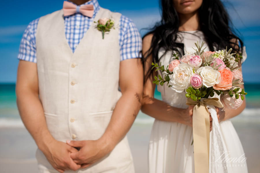 bride and groom at their tulum wedding