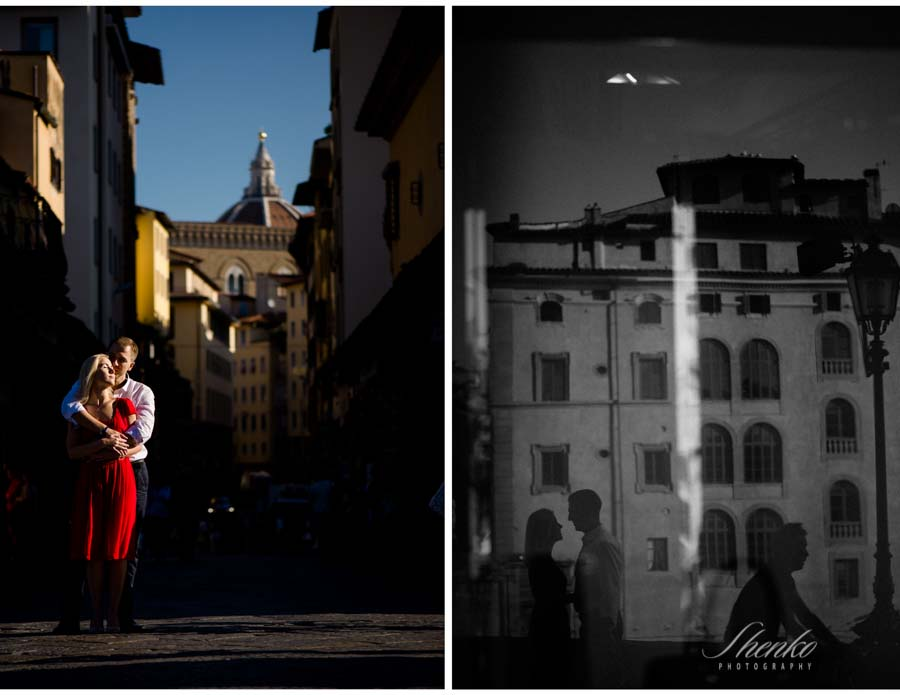 Before wedding romantic photos in Ponte Vecchio and Cathedral in Background