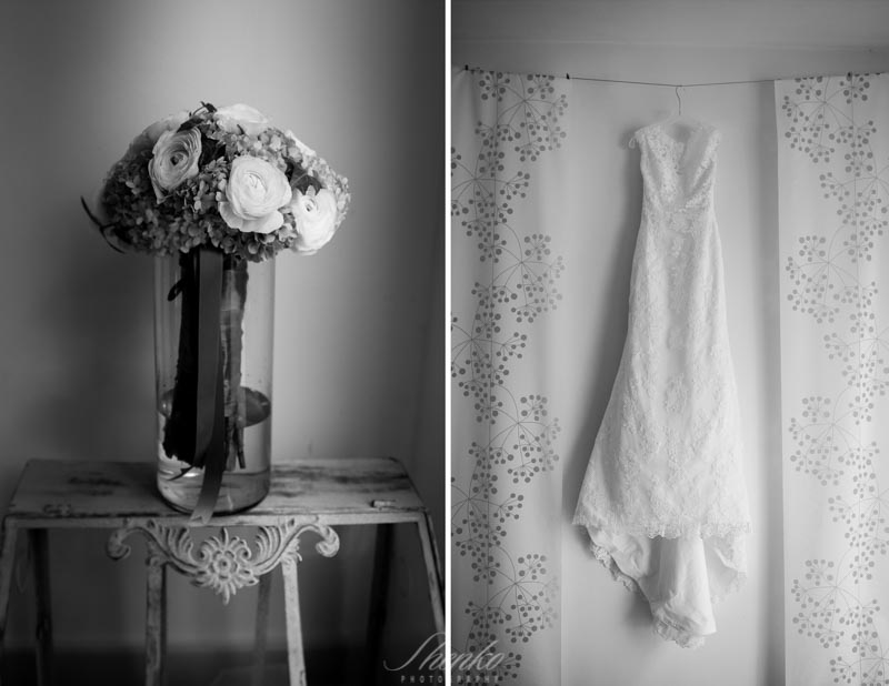 the wedding dress at brides room with flowers