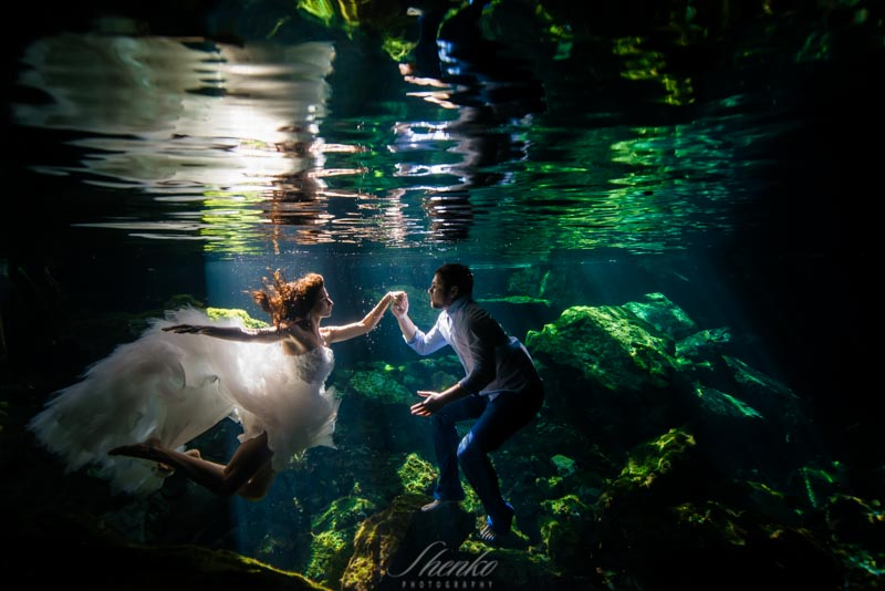 Underwater. Day after wedding photo session in Riviera Maya