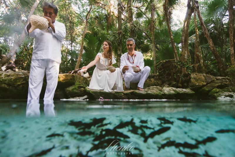 Mayan wedding ceremony and Underwater bridal photo session