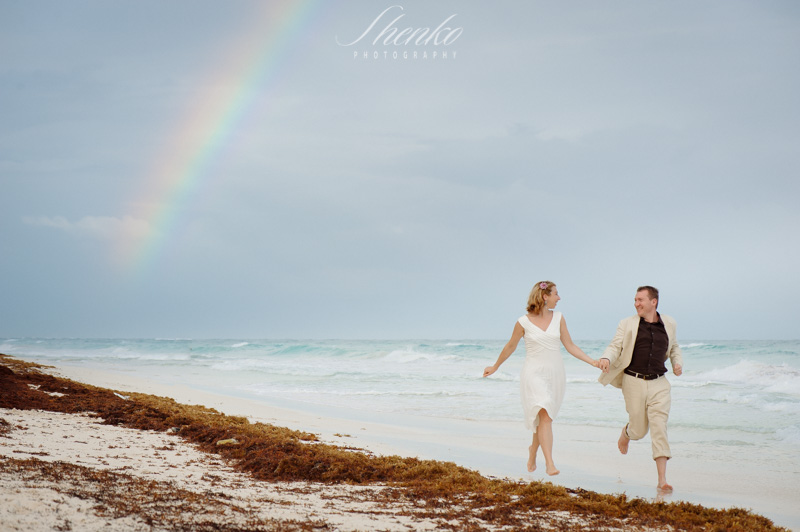 running under the rainbow in tulum photo session
