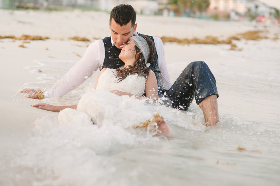 trash the dress photo session at the beach at playa
