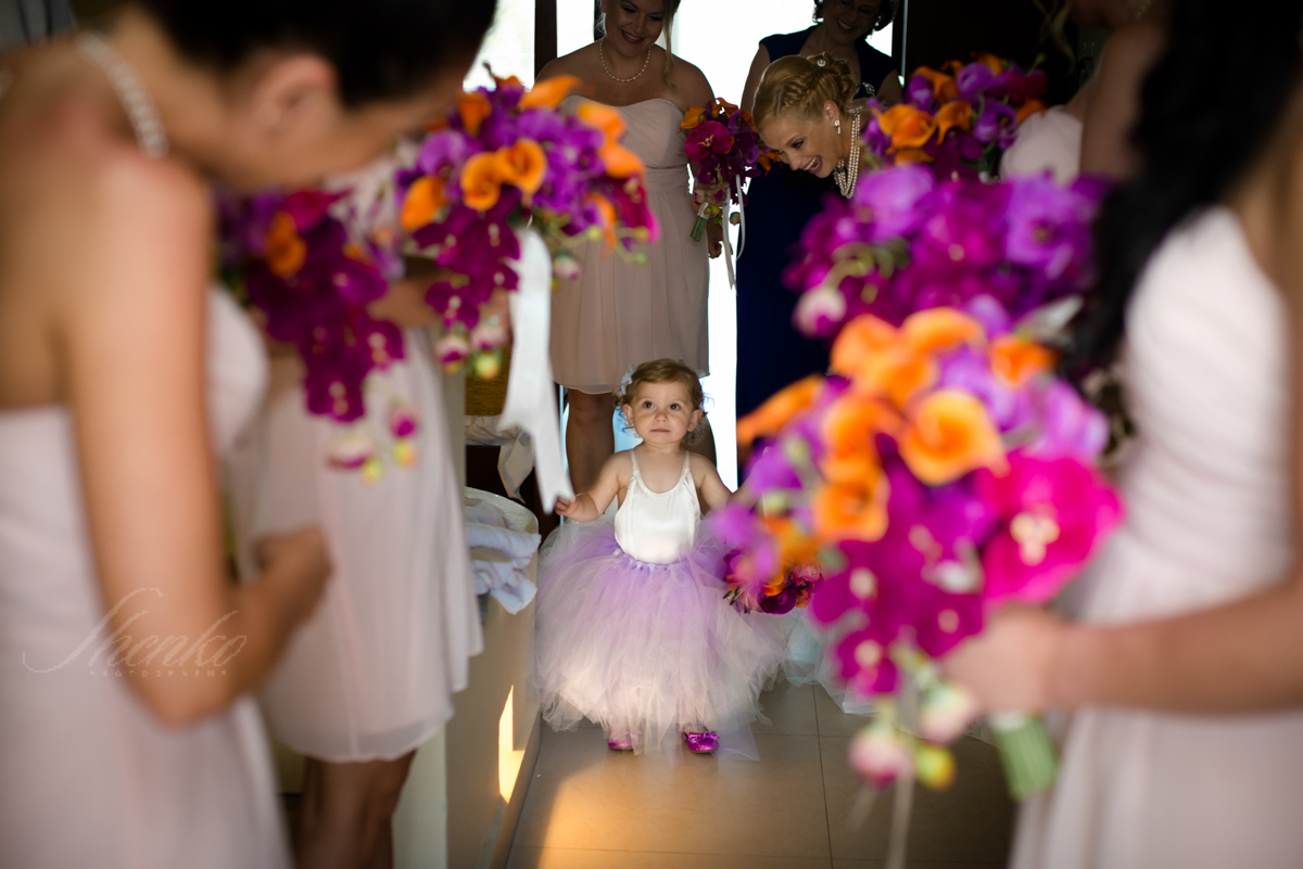 bride with flower girl at azul sensatory wedding