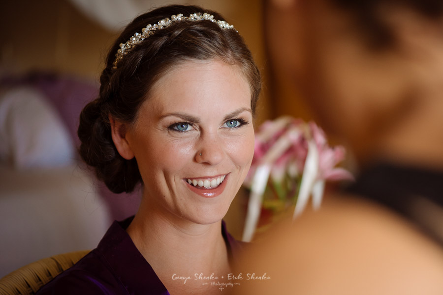 getting ready of a bride at grand coral beach wedding