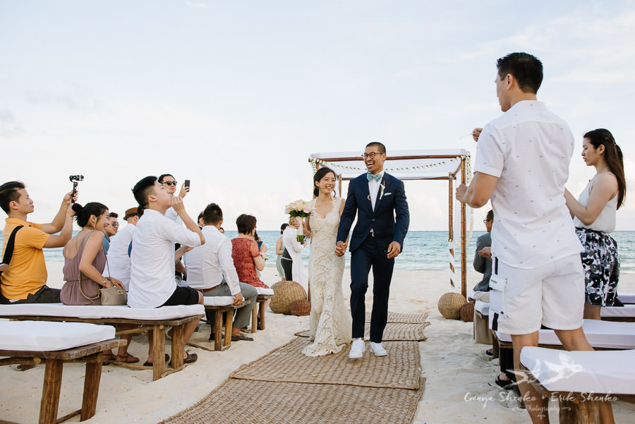 Intimate wedding ceremony at the beach. Pamela + Justin