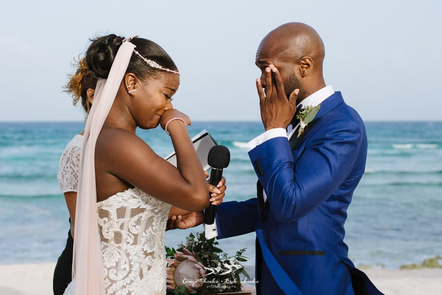 Blue Venado wedding ceremony emotional moment